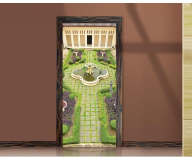 Наклейка на дверь Красивый сад во дворе