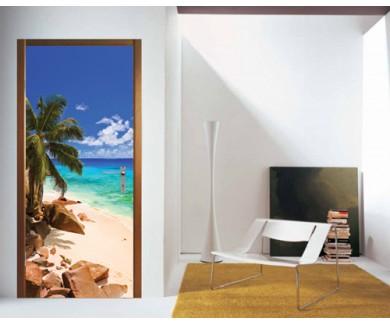 Наклейка на дверь Тропический пляж на Сейшельских островах