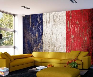 Фотообои Флаг франции в стиле гранж