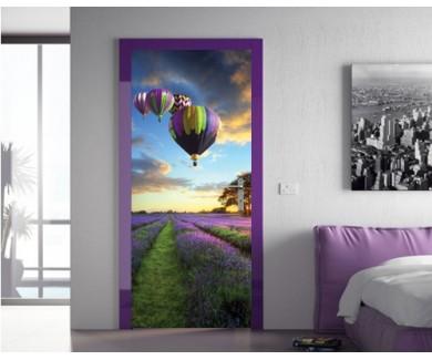 Наклейка на дверь Воздушные шары на закате