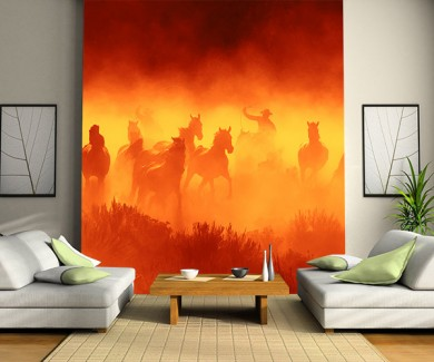 Фотообои Ковбои гоняться за дикими лошадьми