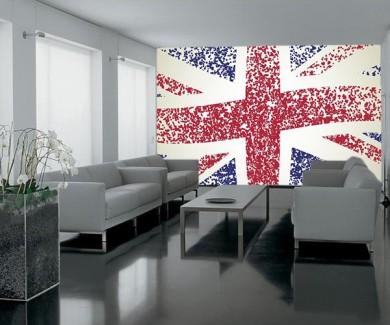 Фотообои Флаг Великобритании, волнистый - гранж