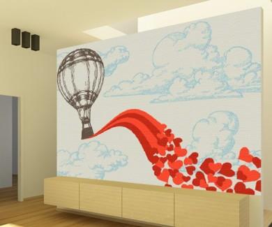 Фотообои Воздушный шар с летящими сердечками
