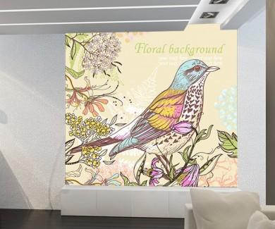 Фотообои Красочная птица и цветы