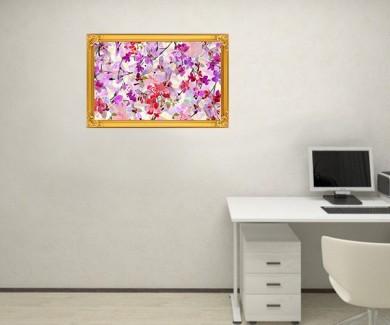 Наклейка на стену Абстрактная акварель Сакуры и орхидеи