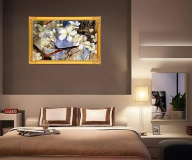 Наклейка на стену Акварель из цветущих веток деревьев