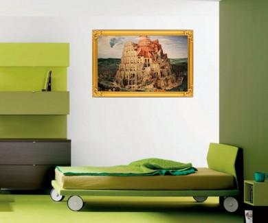 Наклейка на стену Вавилонская башня, знаменитая картина