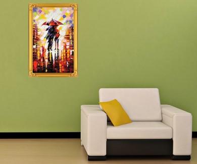 Наклейка на стену Двое влюбленных под зонтиком