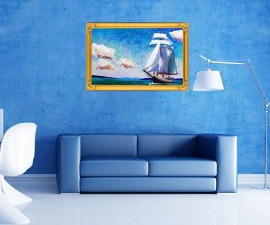 Наклейка на стену Картина маслом, парусная Лодка
