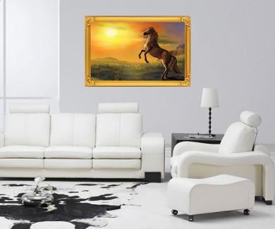 Наклейка на стену Лошадь на фоне красивого пейзажа на закате