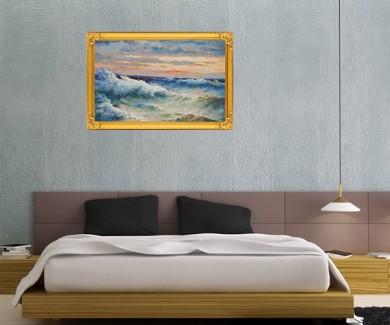 Наклейка на стену Морской шторм, картина маслом