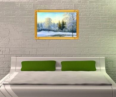 Наклейка на стену Не замёрзнувшее озеро в зимнем лесу