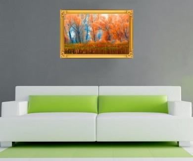Наклейка на стену Оранжевый лес у воды