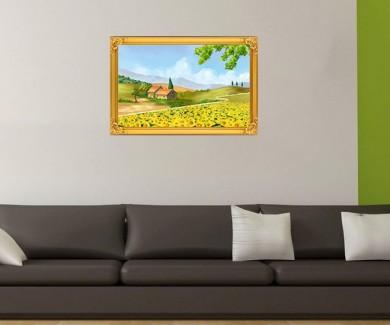 Наклейка на стену Поле подсолнухов в Тоскане, Италия