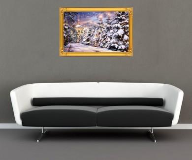 Наклейка на стену Церковь, елки с подсветкой в снегопад