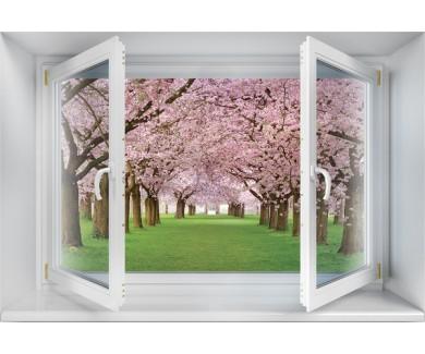 Наклейка на стену Аллея красиво цветущих вишневых деревьев