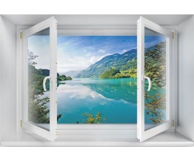 Наклейка на стену Величественное изумрудное горное озеро