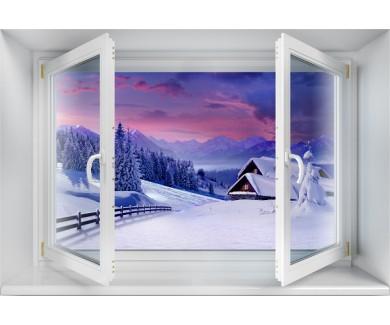 Наклейка на стену Зимний закат