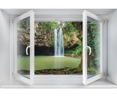 Наклейка на стену Красивый Тропический Водопад на Гавайях