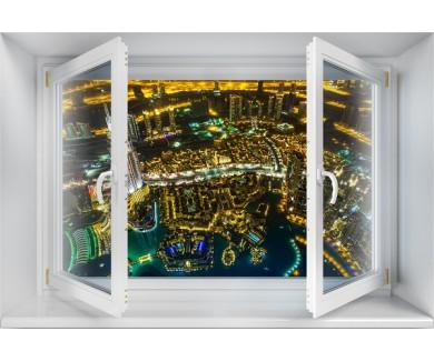 Наклейка на стену Ночной Дубай, вид сверху