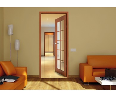 Наклейка на стену Длинный и красивый коридор с открытой дверью