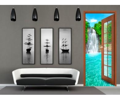 Наклейка на стену Красивый цветок лотоса в водопаде