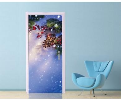 Наклейка на дверь Еловые ветки на синем фоне