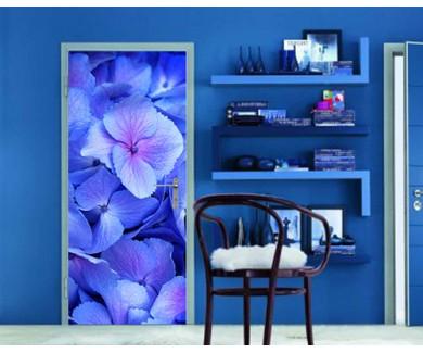 Наклейка на дверь Голубые и розовые гортензии