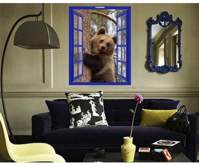 Наклейка на стену Бурый медвежонок на дереве