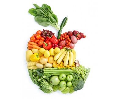 Наклейка на холодильник Овощи и фрукты выложенные в виде надкуса