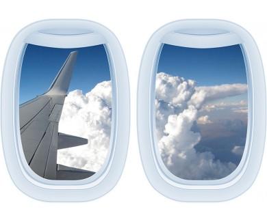 Наклейка на стену Крыло самолёта, небо и облака
