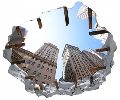 Наклейка на потолок Высотные здания в районе Уолл-Стрит
