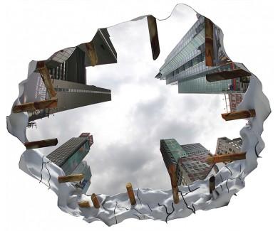 Наклейка на потолок Таймс-сквер, вид на небо