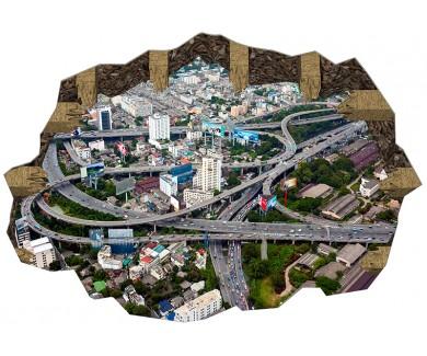Наклейка на пол Вид с воздуха дорожную эстакаду в Бангкоке