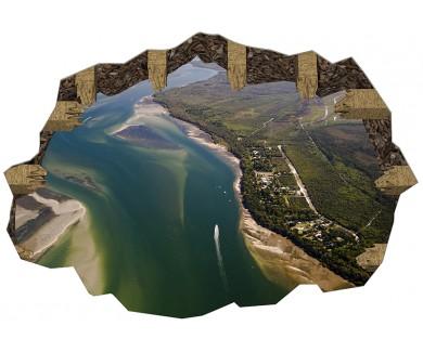 Наклейка на пол Вид с воздуха на устье реки