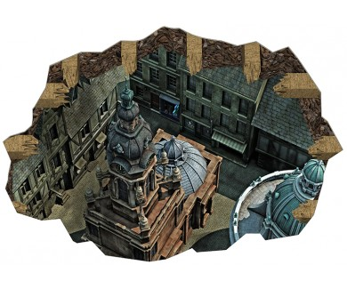 Наклейка на пол Город в стиле барокко, крыши