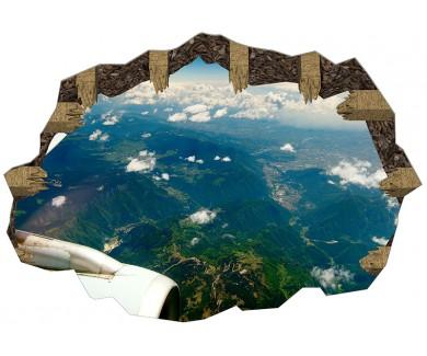 Наклейка на пол Горная цепь под крылом самолёта