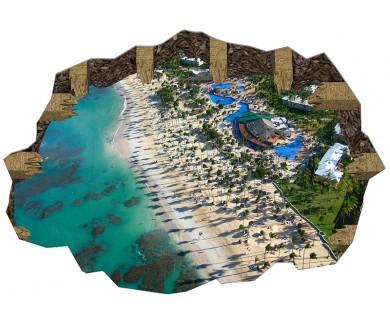 Наклейка на пол Карибский курорт, вид с вертолёта