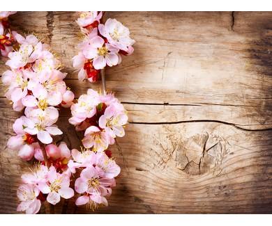Наклейка на пол Весенние цветы, лежащие на деревянной достке