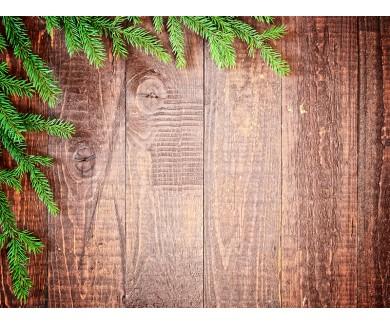 Наклейка на пол Ветки ели на деревяном фоне