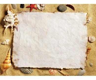 Наклейка на пол Морские ракушки на песке