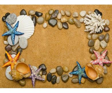 Наклейка на пол Рукушки и камни на песке