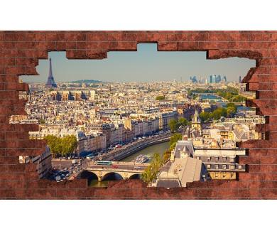 Наклейка на стену Вид на Париж с Собора Парижской Богоматери