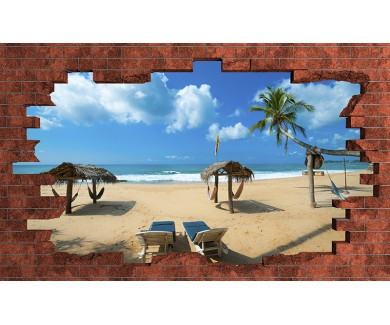 Наклейка на стену Выход на пляж