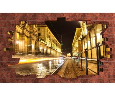 Наклейка на стену Ночной город, вид на дорогу