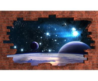 Наклейка на стену Планеты над туманностью в космосе